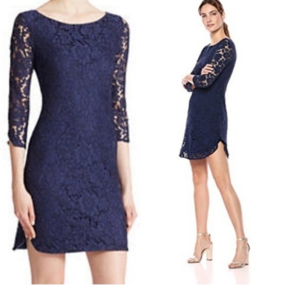 Vince Camuto Lace Overlay Shift Dress Size 6